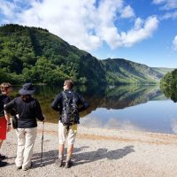 Admiring the lower lake in Glendalough